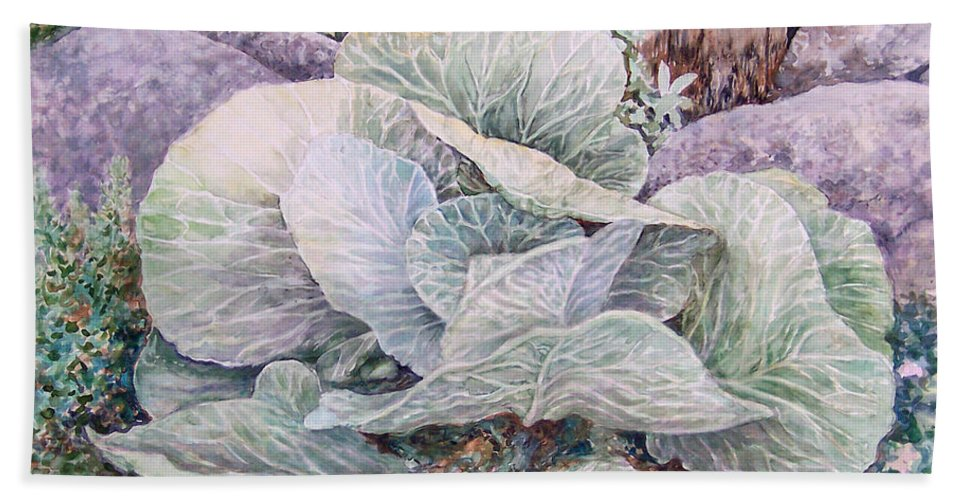 Leaves Bath Sheet featuring the painting Cabbage Head by Valerie Meotti