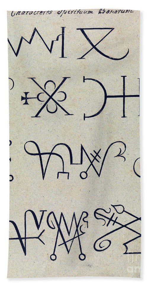 History Hand Towel featuring the photograph Cabbalistic Signs And Sigils, 18th by Wellcome Images
