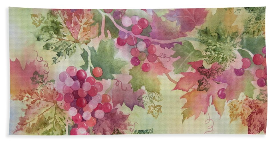 Grapes Hand Towel featuring the painting Cabernet by Deborah Ronglien