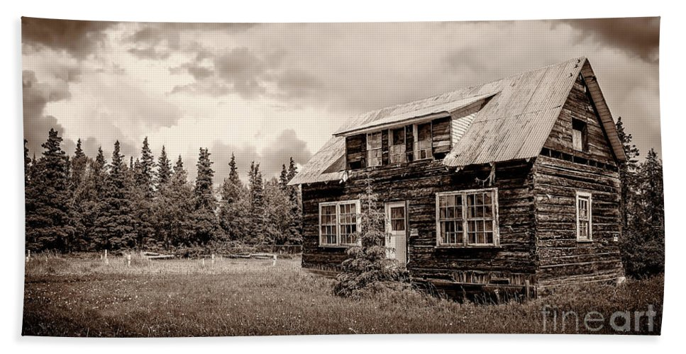 Log Bath Sheet featuring the photograph Cabin In Kenai by Russell Alexander