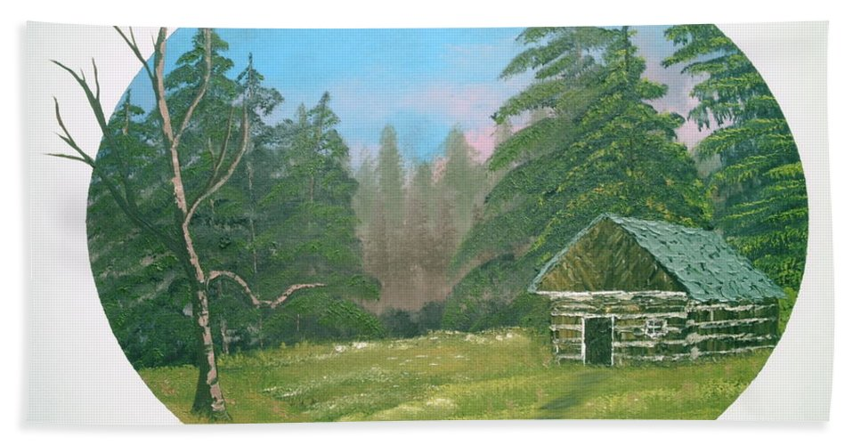 Landscape Bath Sheet featuring the painting Cabin In The Meadow by Jim Saltis