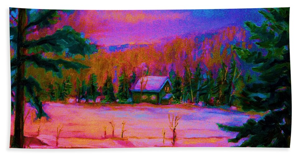 Winterscenes Bath Towel featuring the painting Cabin In The Woods by Carole Spandau