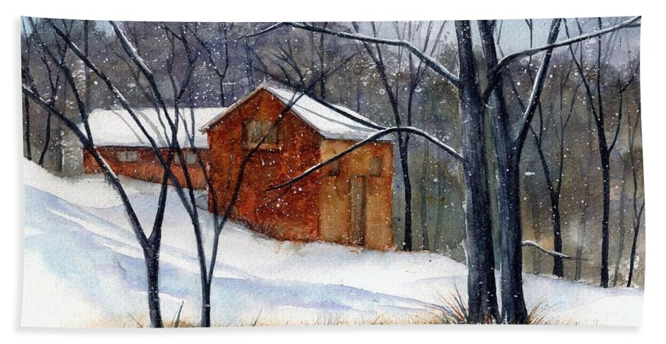 Cabin Hand Towel featuring the painting Cabin In The Woods by Debbie Lewis
