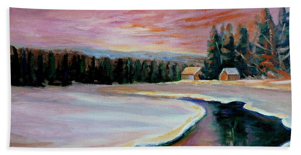 Cabin Retreat Hand Towel featuring the painting Cabin Retreat by Carole Spandau