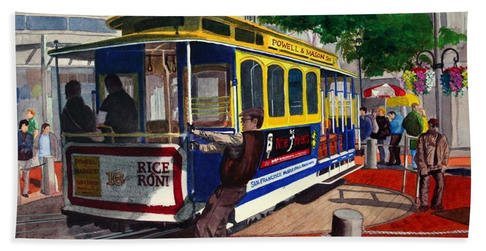 San Francisco Hand Towel featuring the painting Cable Car Turntable At Powell And Market Sts. by Mike Robles