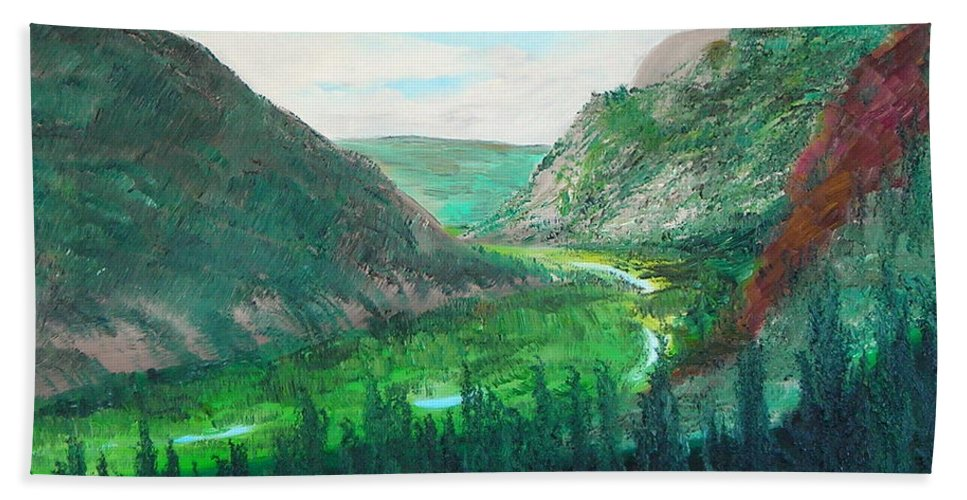 Green Valley With Cache Le Pudre Colorado Bath Sheet featuring the painting Cache Le Pudre Valley by Troy Thomas
