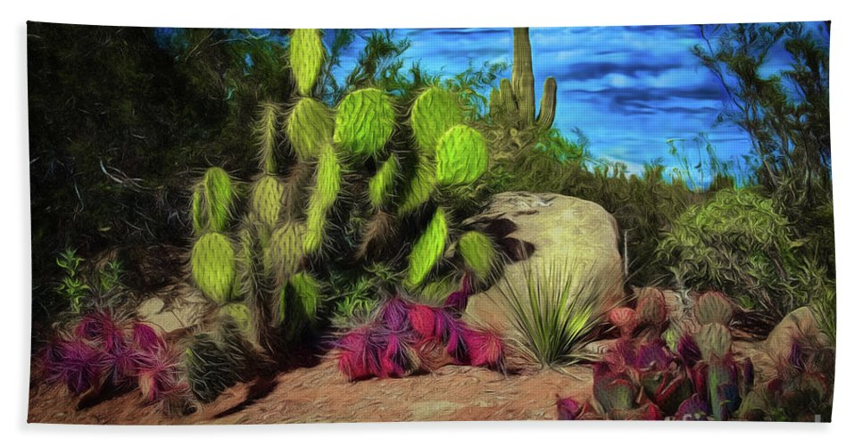 Cacti Hand Towel featuring the photograph Cacti And Rock by Jon Burch Photography