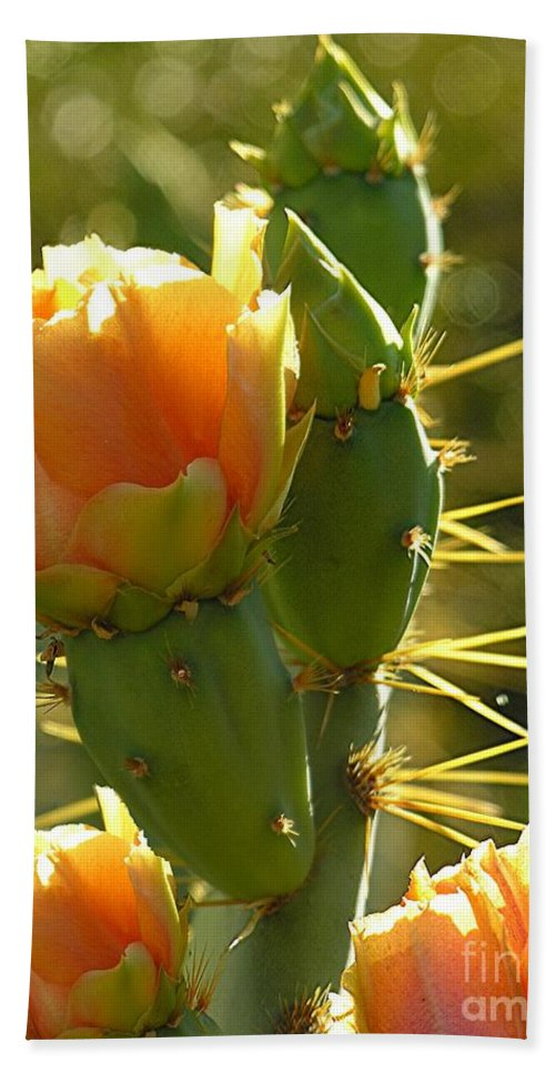 Prickle Pear Cactus Bath Towel featuring the digital art Cactus Buds by Diane Greco-Lesser