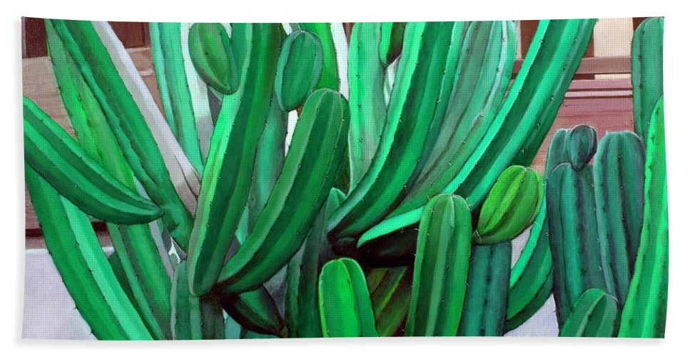 Landscape Hand Towel featuring the painting Cactus Fly By by Snake Jagger