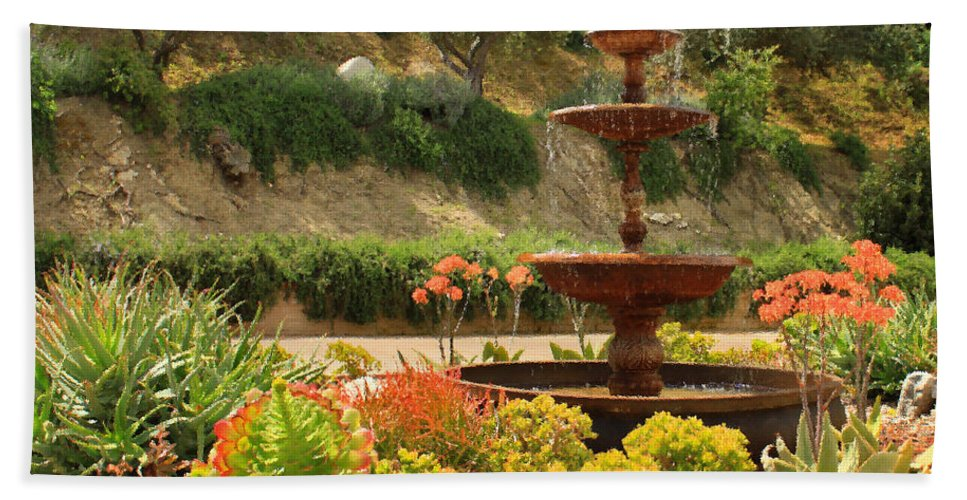 Floral Bath Sheet featuring the photograph Cactus Fountain by James Eddy