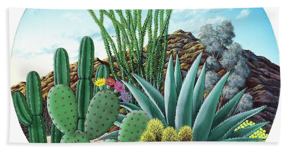 Cactus Bath Sheet featuring the painting Cactus Garden 2 by Snake Jagger
