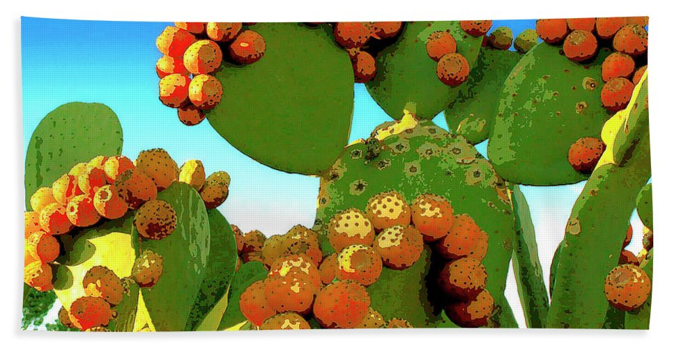 Cactus Hand Towel featuring the mixed media Cactus Pears by Dominic Piperata