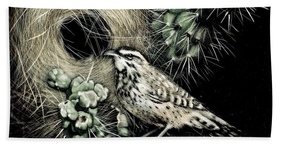 Bird Bath Sheet featuring the painting Cactus Wren by Angie Cockle