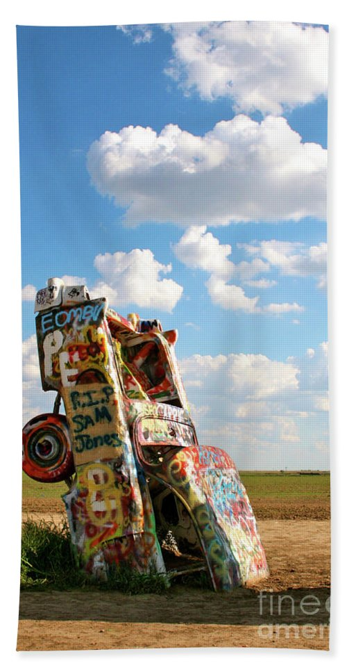 Cadillac Ranch Bath Sheet featuring the photograph Caddies N Clouds One by Brooke Roby
