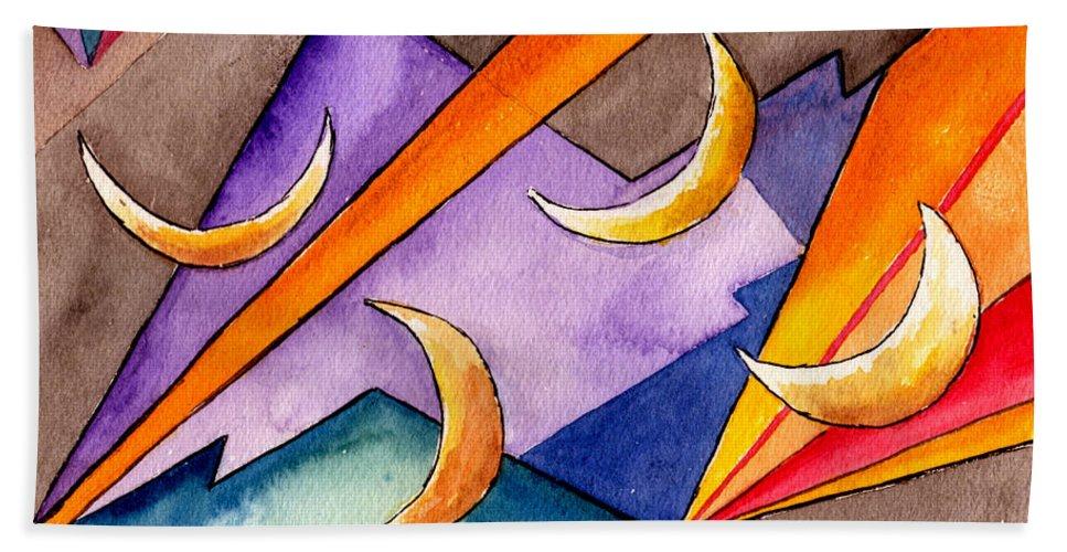Watercolor Abstract Orange Purple Grey Moon Moons Design Fantasy Surreal Bath Towel featuring the painting Cadence by Brenda Owen