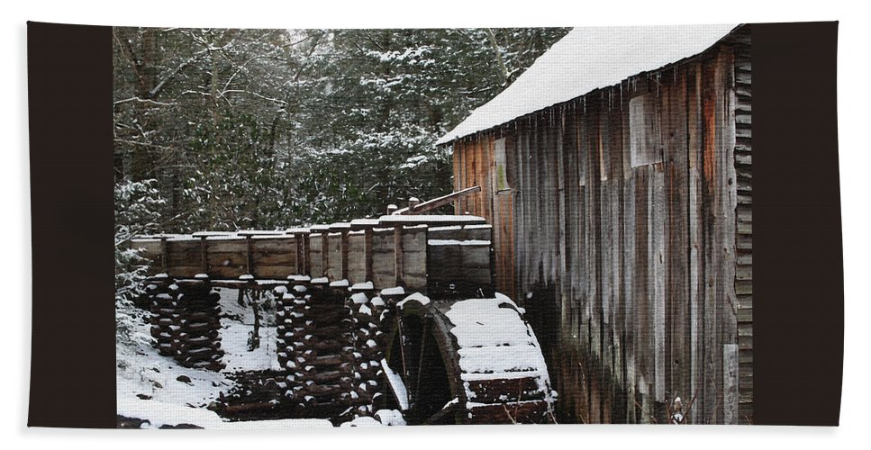 Smoky Mountains Bath Sheet featuring the photograph Cades Cove Mill II by Margie Wildblood