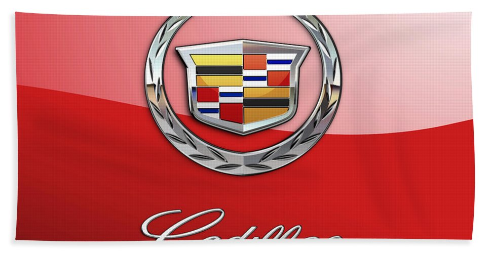 �wheels Of Fortune� Collection By Serge Averbukh Bath Towel featuring the photograph Cadillac - 3 D Badge on Red by Serge Averbukh