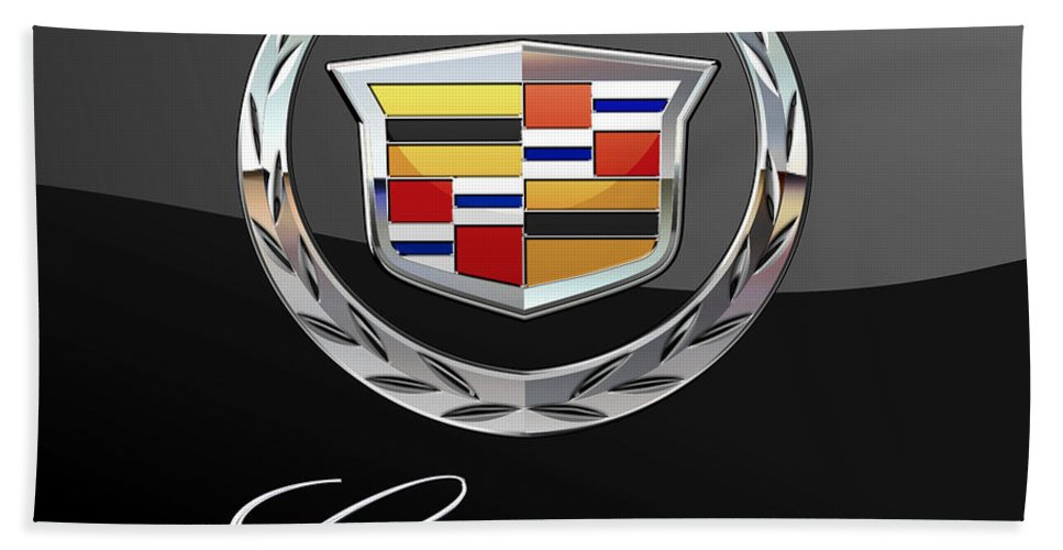 'wheels Of Fortune' By Serge Averbukh Bath Towel featuring the photograph Cadillac - 3 D Badge On Black by Serge Averbukh