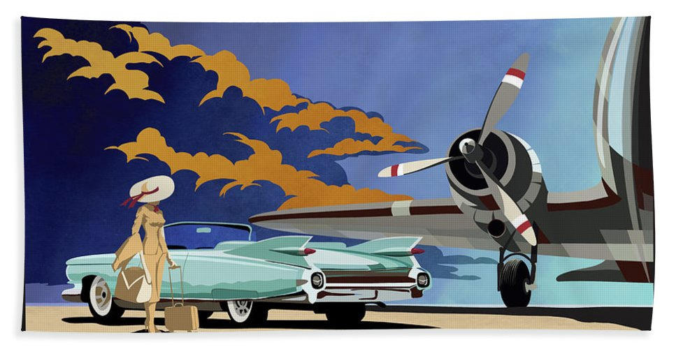 Cadillac Bath Towel featuring the painting Cadillac Eldorado 1959 by Sassan Filsoof