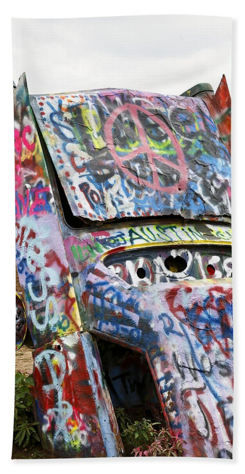Americana Hand Towel featuring the photograph Cadillac Ranch by Marilyn Hunt
