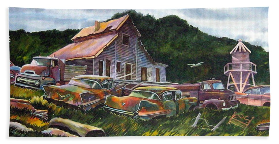 Cadillacs Bath Towel featuring the painting Cadillac Ranch by Ron Morrison