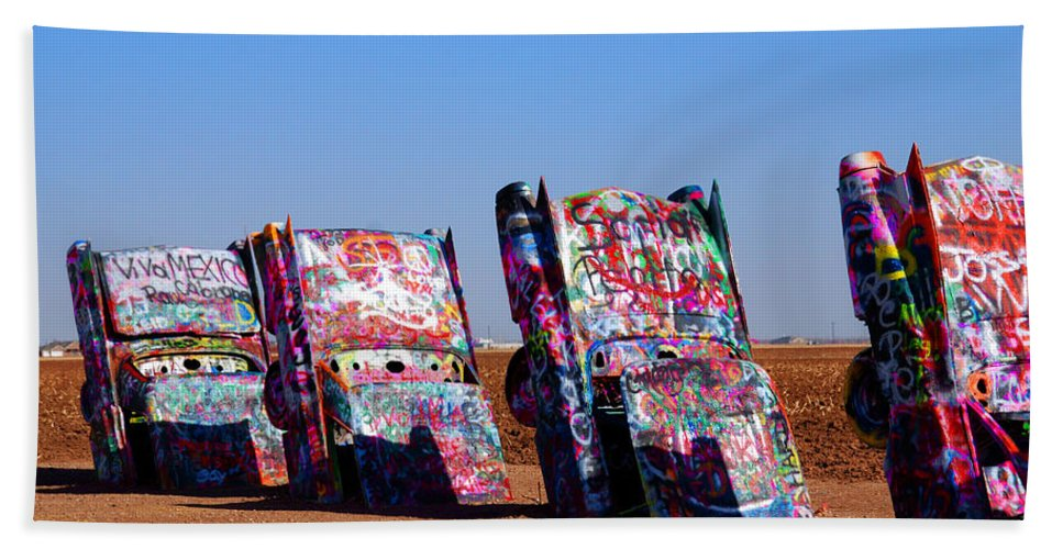 Photography Bath Sheet featuring the photograph Cadillac Ranch by Susanne Van Hulst