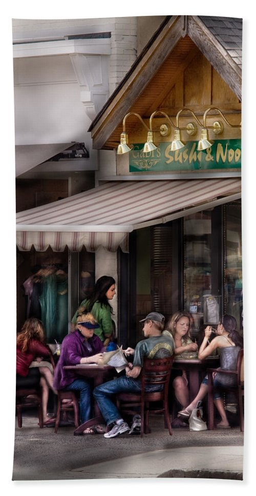 Savad Bath Sheet featuring the photograph Cafe - Westfield Nj - Gabi's Sushi And Noodles by Mike Savad
