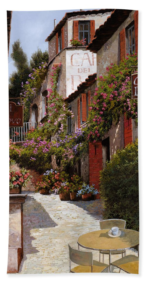Cafe Bath Towel featuring the painting Cafe Bifo by Guido Borelli