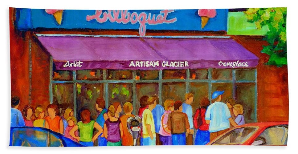 Cafe Bilboquet Bath Towel featuring the painting Cafe Bilboquet Ice Cream Delight by Carole Spandau