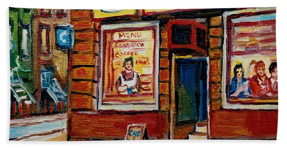 Cafe Bistro St.viateur Hand Towel featuring the painting Cafe Bistro St. Viateur by Carole Spandau