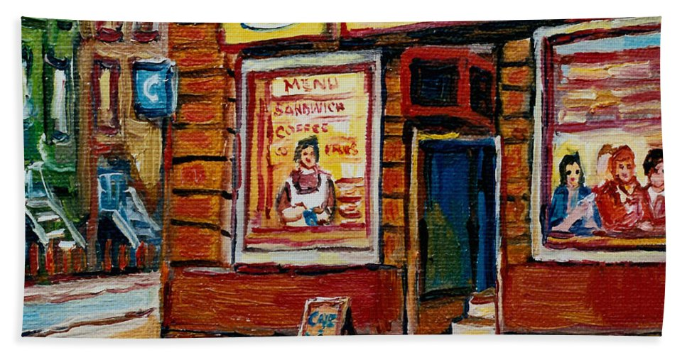 Cafe Bistro St.viateur Bath Towel featuring the painting Cafe Bistro St. Viateur by Carole Spandau