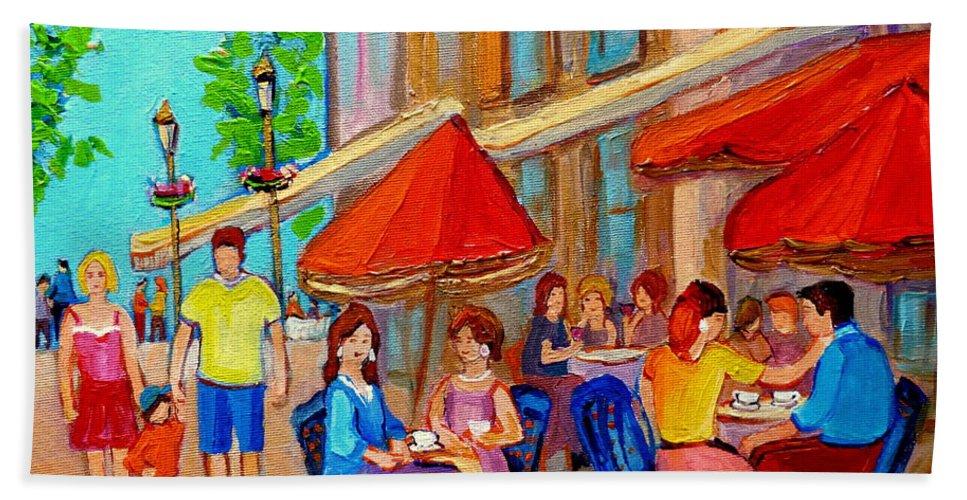 Cafescene Bath Towel featuring the painting Cafe Casa Grecque Prince Arthur by Carole Spandau