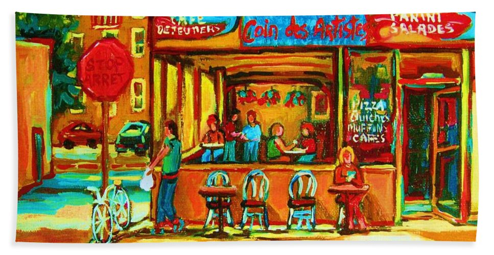 Cafes Hand Towel featuring the painting Cafe Coin Des Artistes by Carole Spandau