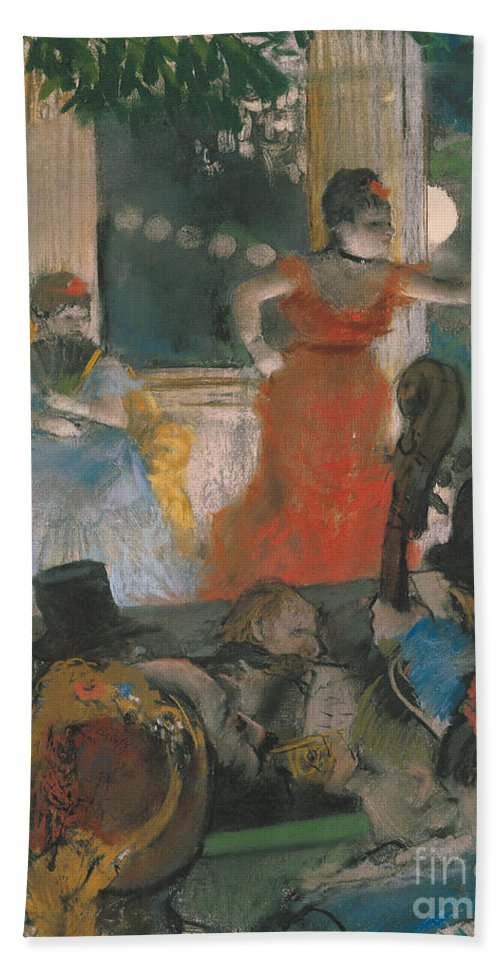 Cafe Bath Sheet featuring the pastel Cafe Concert At Les Ambassadeurs by Edgar Degas