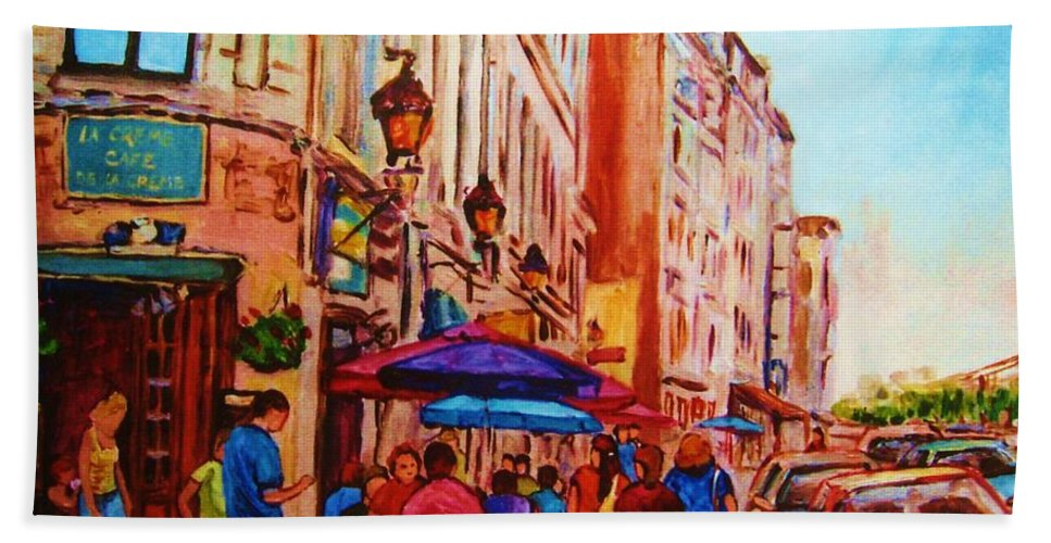 Montreal Hand Towel featuring the painting Cafe Creme by Carole Spandau