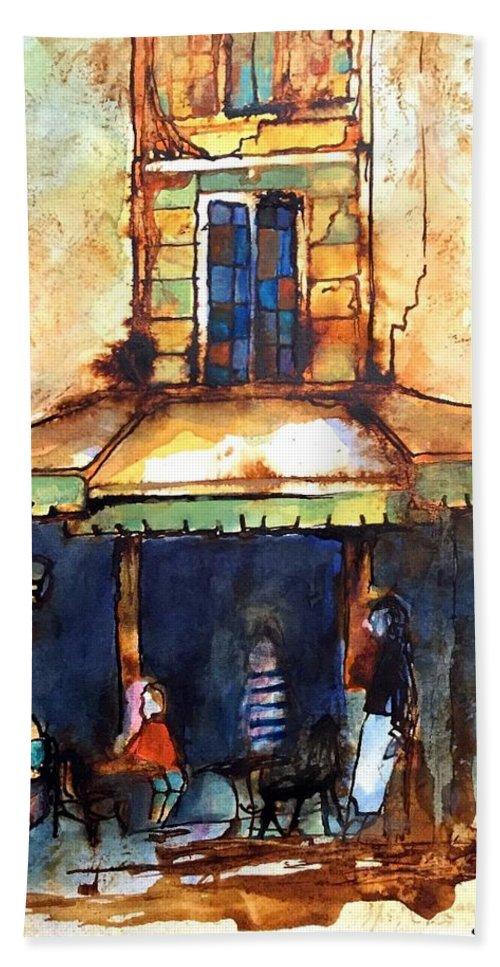 Café De L'après-midi Hand Towel featuring the painting Cafe De L'apres-midi by Michael Rome