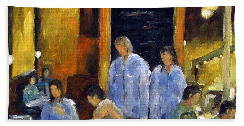 Urban Hand Towel featuring the painting Cafe Des Artistes by Richard T Pranke