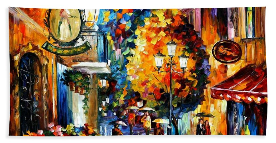 Afremov Bath Sheet featuring the painting Cafe In The Old City by Leonid Afremov