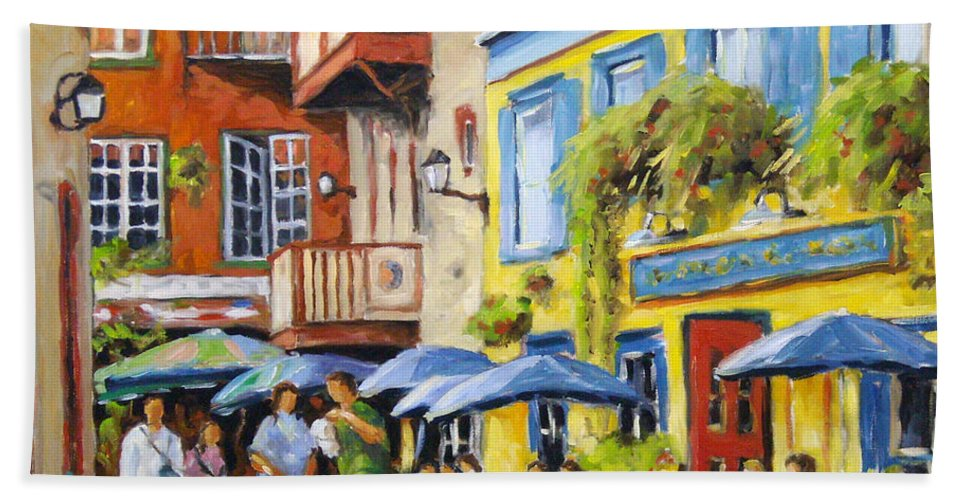 Balcony Hand Towel featuring the painting Cafe In The Old Quebec by Richard T Pranke