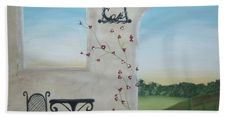 Tuscany Bath Sheet featuring the painting Cafe In Tuscany by Katie Slaby