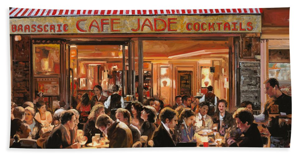 Brasserie Hand Towel featuring the painting Cafe Jade by Guido Borelli