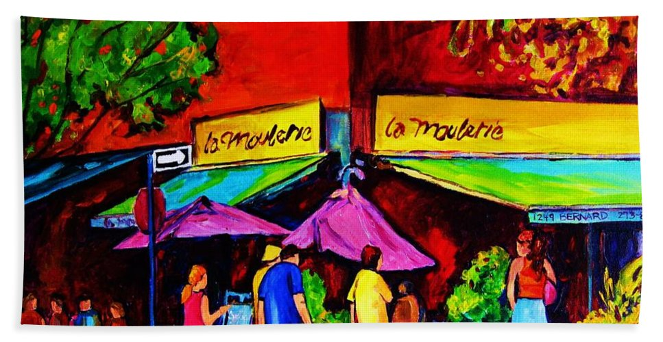 Cafe Scenes Bath Towel featuring the painting Cafe La Moulerie On Bernard by Carole Spandau