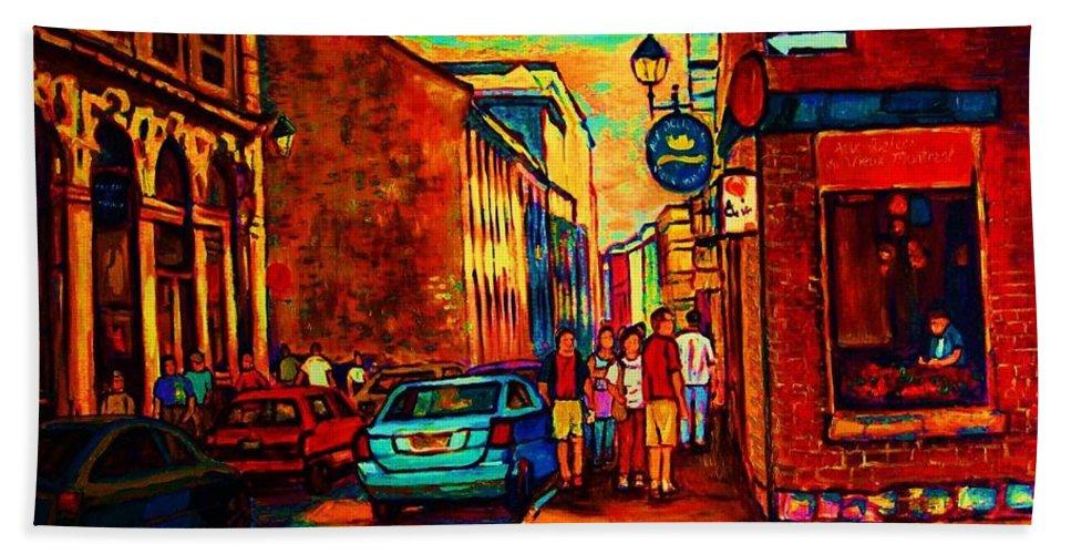 Vieux Port Hand Towel featuring the painting Cafe Le Vieux Port by Carole Spandau