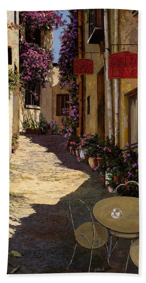 Caffe Hand Towel featuring the painting Cafe Piccolo by Guido Borelli