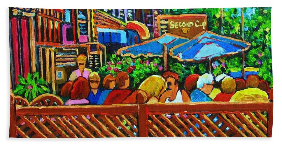 Cafes Bath Sheet featuring the painting Cafe Second Cup by Carole Spandau