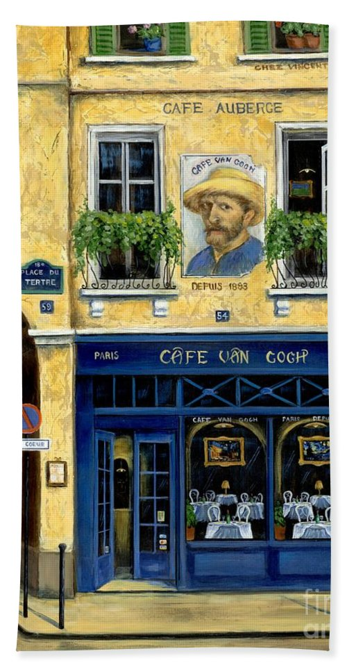 Europe Bath Towel featuring the painting Cafe Van Gogh by Marilyn Dunlap
