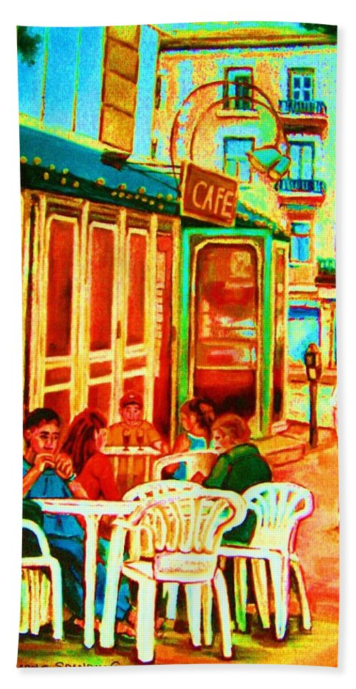Cafes Hand Towel featuring the painting Cafe Vienne by Carole Spandau