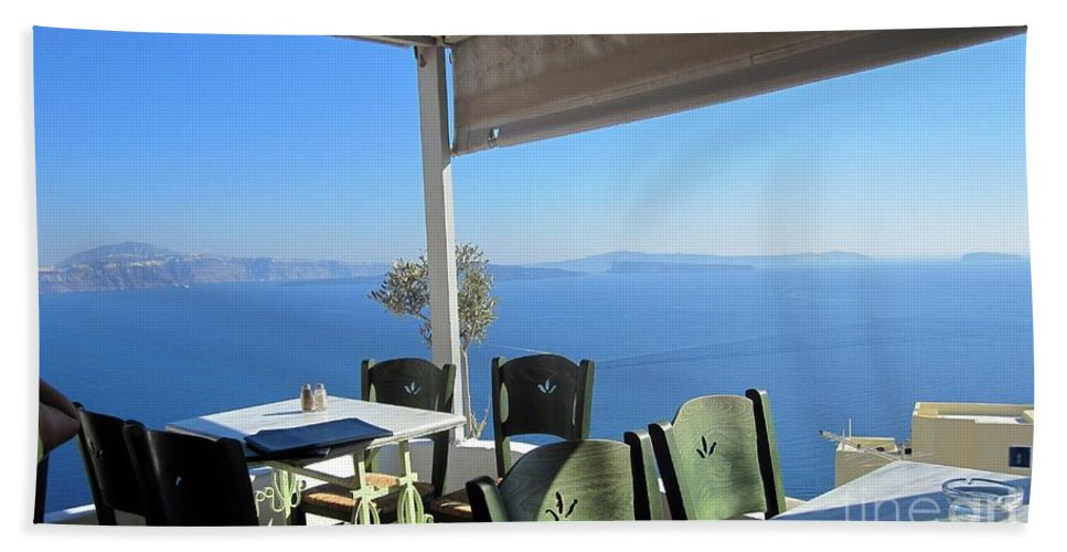 Santorini Hand Towel featuring the photograph Cafe' With A View by Karen Norton
