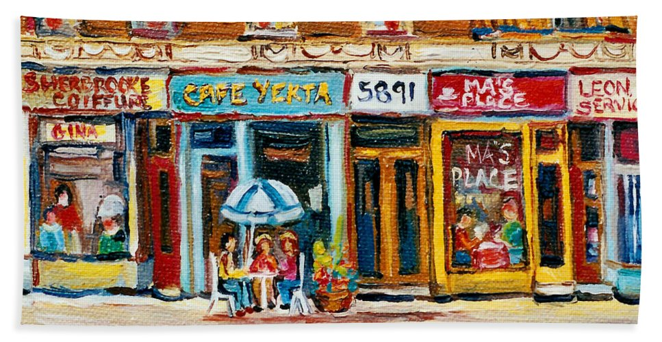 Cafes Bath Sheet featuring the painting Cafe Yenta And Ma's Place by Carole Spandau