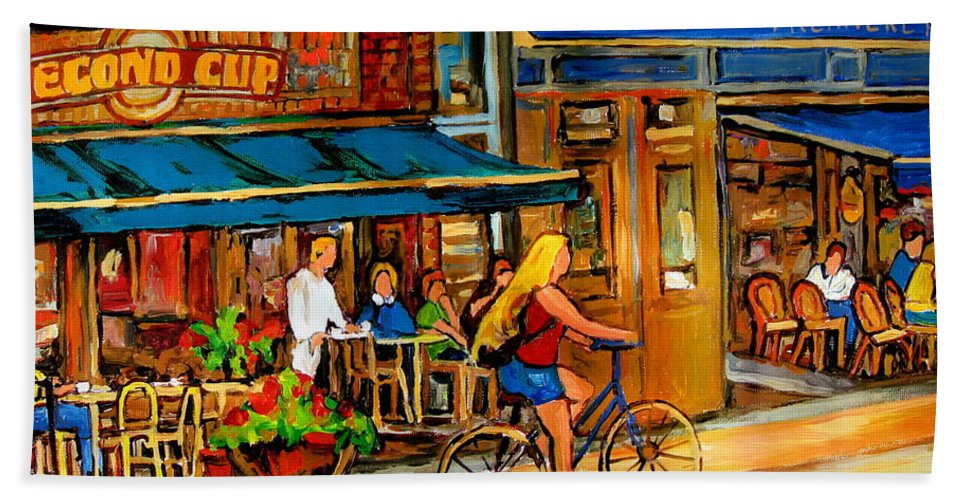 Cafes Bath Towel featuring the painting Cafes With Blue Awnings by Carole Spandau